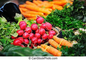 nourriture, légumes frais, organique, marché