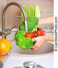 nourriture, légumes frais, washing., sain