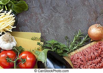 nourriture, lasagne, fond, ingrédients