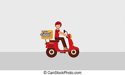 nourriture, livraison, ligne