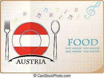 nourriture, logo, autriche, fait, drapeau