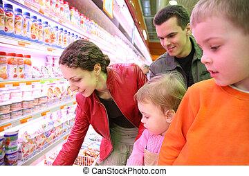 nourriture, magasin, famille