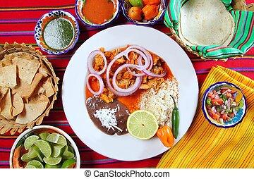 nourriture mexicaine, sauce, fajitas, piment, riz, frijoles