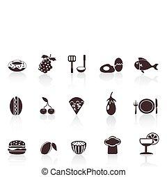 nourriture, noir, icônes