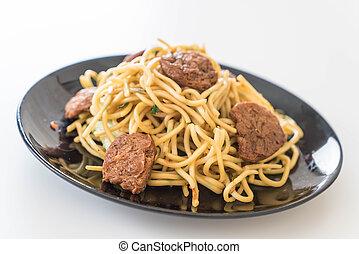 nourriture, nouille, -, vegan, frit