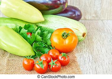 nourriture, organique, légumes, sain, espace, copie, fond, wood.
