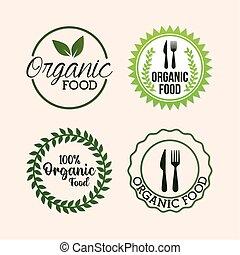 nourriture organique, lettrage, paquet