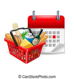nourriture, panier, calendrier