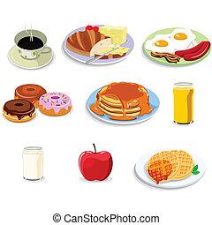 nourriture, petit déjeuner, icônes