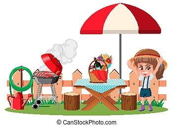 nourriture, pique-nique, girl, scène, table