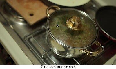 nourriture, pot potage, cuisine, stove.