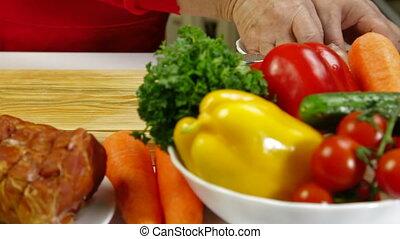 nourriture, poulet, découpage, préparation, -