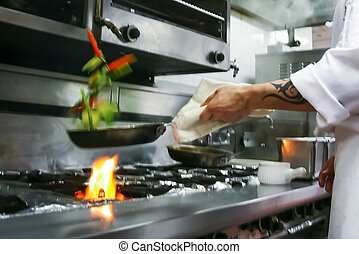 nourriture, préparer, restaurant