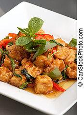 nourriture, remuer, thaï, frire, tofu