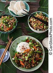 nourriture, riz, végétariens, chinois