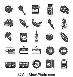 nourriture, sélection, ensemble, supermarché, icônes