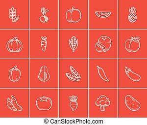 nourriture saine, croquis, set., icône