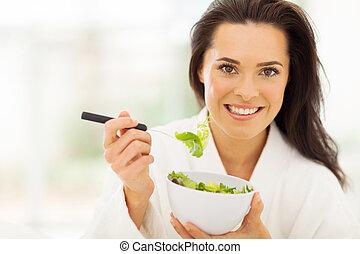 nourriture saine, femme mange, jeune