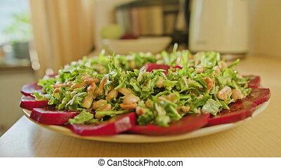 nourriture saine, femme, préparer, cuisine