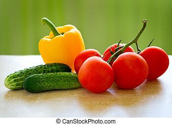 nourriture saine, frais, vegetables., table
