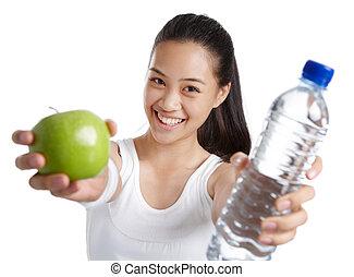 nourriture saine, girl, fitness