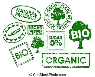 nourriture saine, timbres, organique