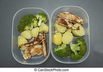 nourriture saine, tupperware