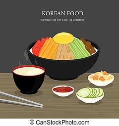 nourriture, salad., dessin animé, vecteur, illustration, légumes, soupe, riz, bibimbap, traditionnel, ensemble, coréen