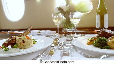 nourriture, servi, table, 4k, boisson