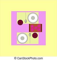 nourriture, table, illustration, blanc, vecteur, arrière-plan.