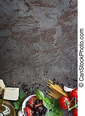 nourriture, texte, italien, fond, espace