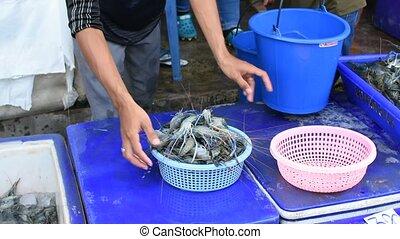 nourriture, thaï, marché rue, crevette