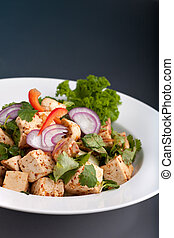 nourriture, tofu, thaï, remuer font frire