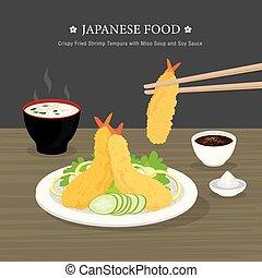 nourriture, vecteur, dessin animé, miso, illustration, crevette, japonaise, and., soupe, tempura, traditionnel, ensemble, croustillant, frit