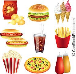 nourriture, vecteur, ensemble, repas, jeûne