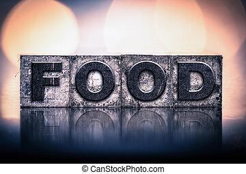 nourriture, vendange, concept, type, letterpress