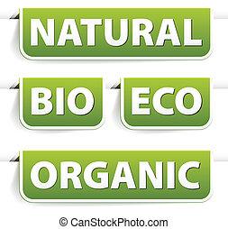 nourriture, vert, bookmarks, ensemble, organique