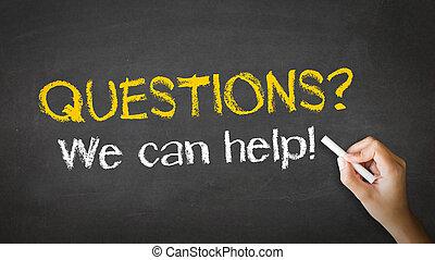 nous, aide, illustration, craie, boîte, questions