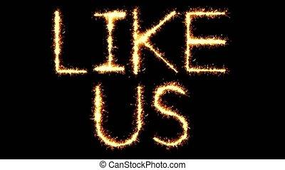 nous, aimer, feud'artifice, animation, étincelles, sparkler, boucle, scintillement, texte