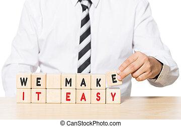 nous, blocs, facile, bois, faire, il, mots, arrangement, homme affaires
