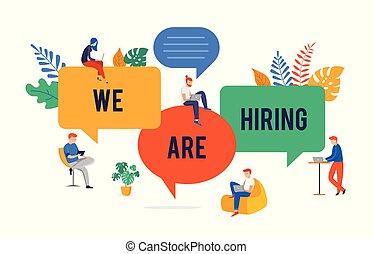 nous, concept, joindre, gens, image, géant, illustration, jeune, équipe, embauche, vecteur, parole, notre, groupe, bulles