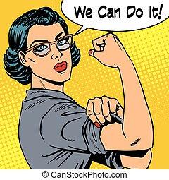 nous, femme, puissance, il, boîte, féminisme, lunettes