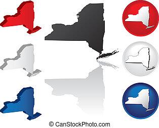 nouveau, état, york, icônes