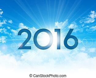 nouveau, 2016, jour, carte, salutation