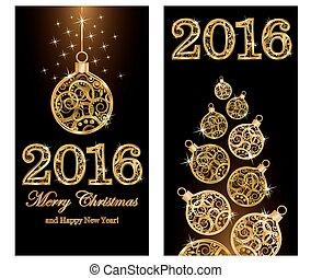 nouveau, 2016, noël, joyeux, année