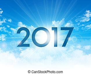 nouveau, 2017, jour, carte, salutation