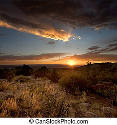 nouveau, albuquerque, coucher soleil, désert, mexique