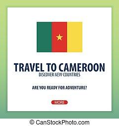 nouveau, aventure, voyage, découvrir, trip., countries., explorer, cameroon.