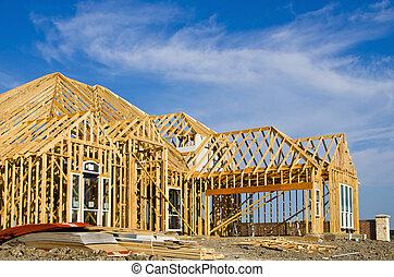 nouveau, cadre, construction, maison