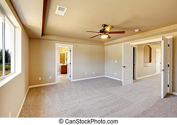 nouveau, carpet., salle, vide, beige
